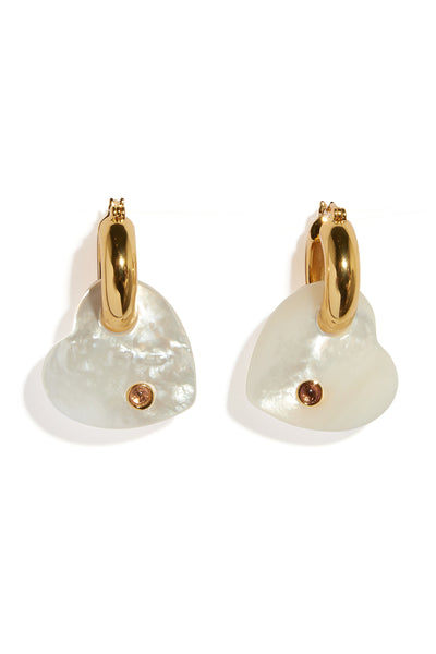 Thumbnail close-up of Jumelle Heart Earrings. We're deeply infatuated with these small-in-si...