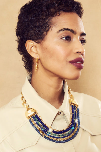 Thumbnail of model in Empress Collar. This multi-strand statement chain necklace is truly fi...