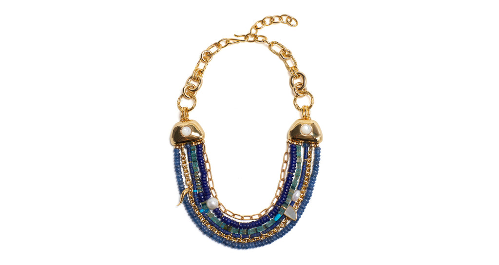 Full view of Empress Collar. This multi-strand statement chain necklace is truly fit for a q...