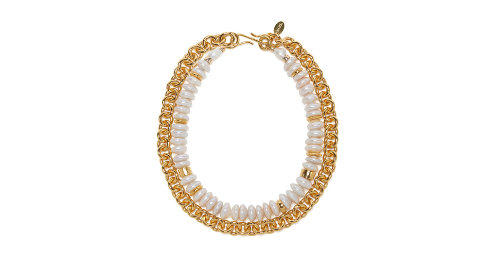 Full view of Niki Pearl Necklace. We love a great triple threat. Our convertible, multi-stra...