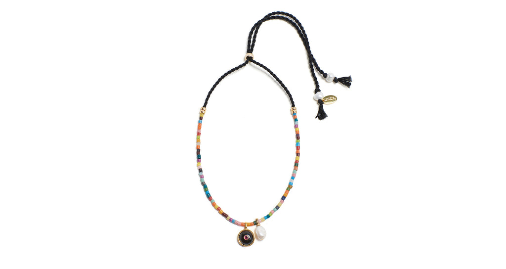 Full view of the Orbit Necklace in Rainbow. Get the rainbow connection with this whimsical s...