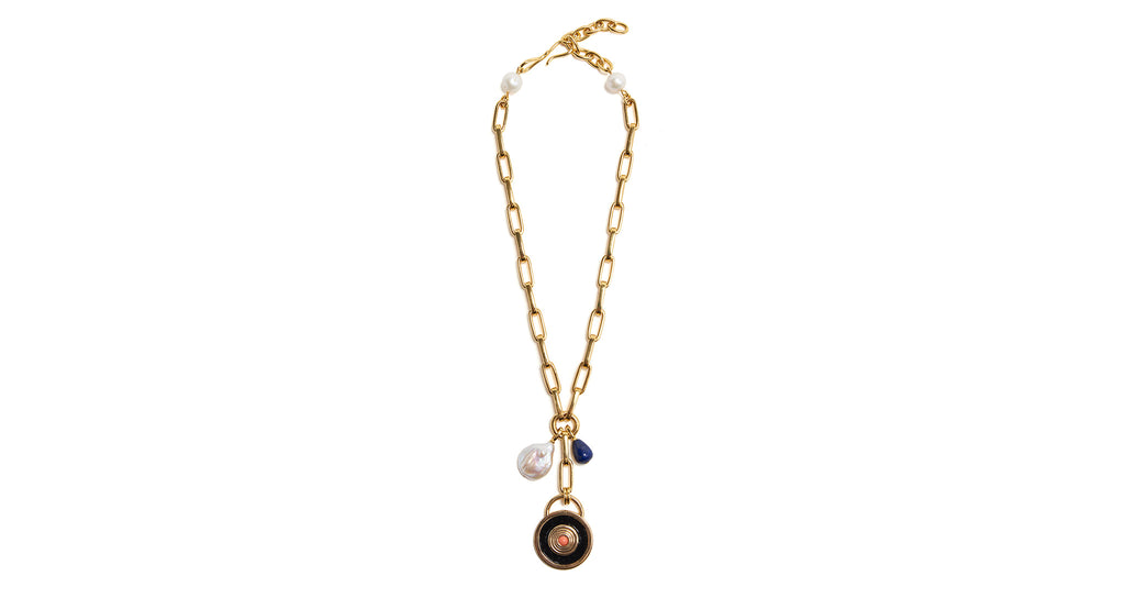 Full view of the Cousteau Necklace. With hanging freshwater pearl, agate bead, and a ridged ...