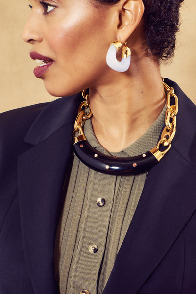 Thumbnail of model in the Egyptian Collar In Onyx. Bring some regal chic to a turtleneck or ...
