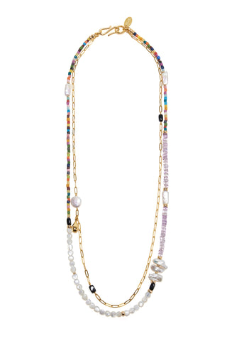 Take Two Necklace in Rainbow