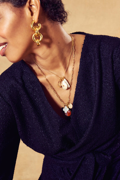 Thumbnail of model wearing the Pearl Oasis Necklace. It's not a mirage — the Pearl Oasis Nec...