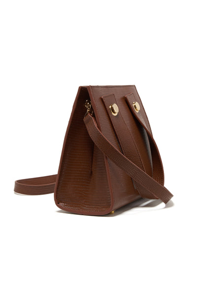 Thumbnail side view of Niki Bag In Dark Brown Lizard. We could all use a little structure th...