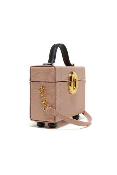 Thumbnail side view of Cinema Box Bag In Blush Lizard. Combining the nostalgic silhouette of...