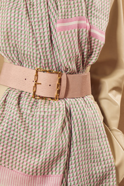 Thumbnail of model in the Geo Chain Belt in Blush. A best-seller in our Spring-Summer collec...