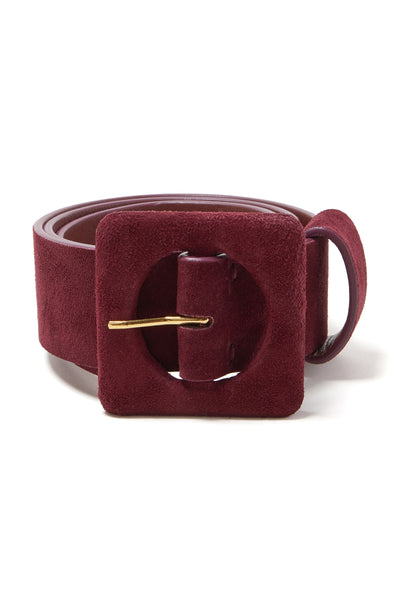 Thumbnail close-up of Agnes Belt In Burgundy. Get rich quick in deep, bold burgundy. Our wid...