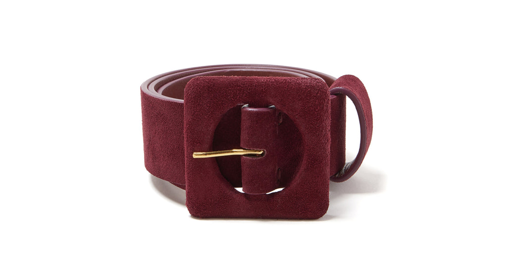 Full view of Agnes Belt In Burgundy. Get rich quick in deep, bold burgundy. Our wide silhoue...