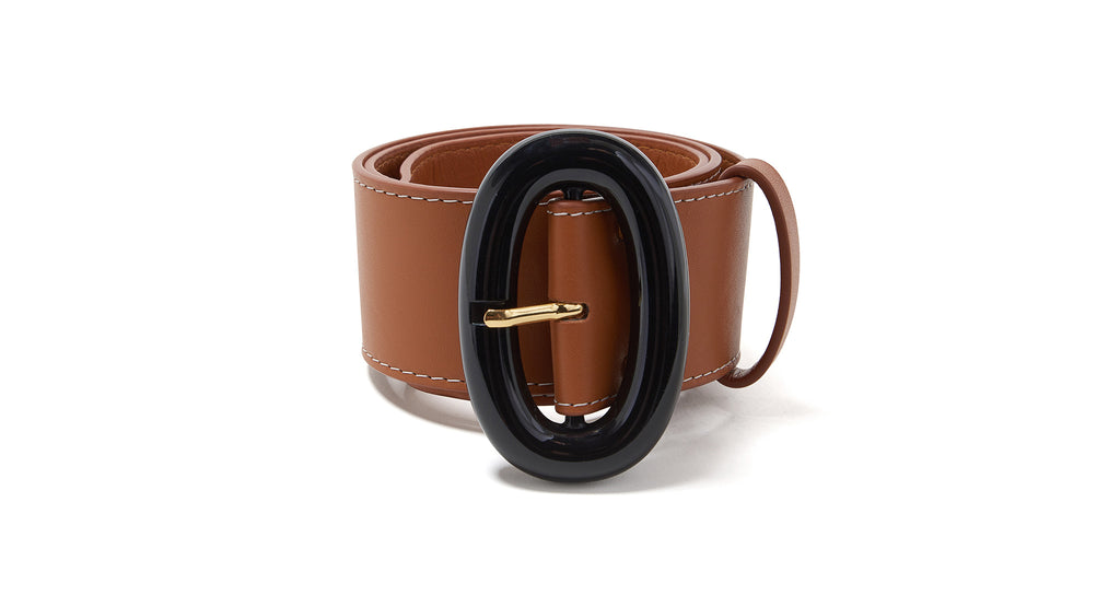 Full view of Icon Belt In Tan. The star of any outfit, the Icon Belt is the easy-to-wear acc...