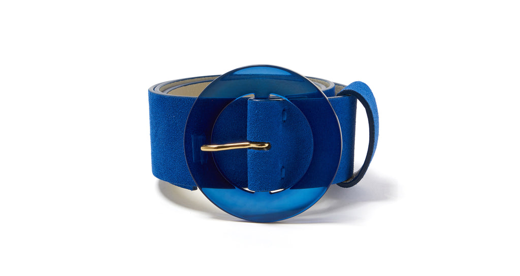 Full view of Louise Belt In Electric Blue. Feeling electric? Our wide, royal blue suede belt...