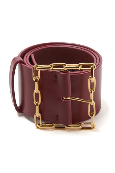 Thumbnail close-up of Geo Chain Belt In Burgundy. Link up your unique look with our wide bel...