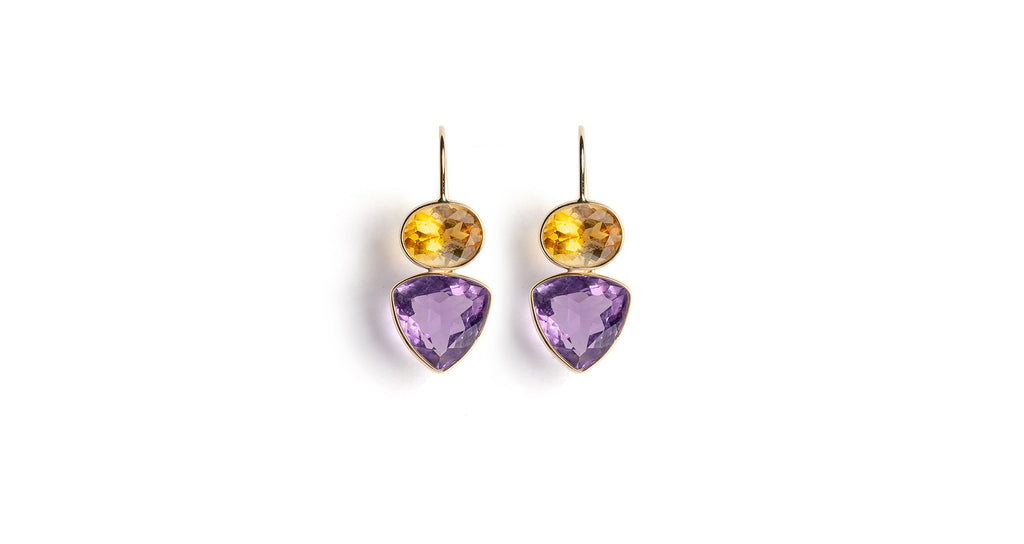 Citrine & Amethyst 14K Earrings