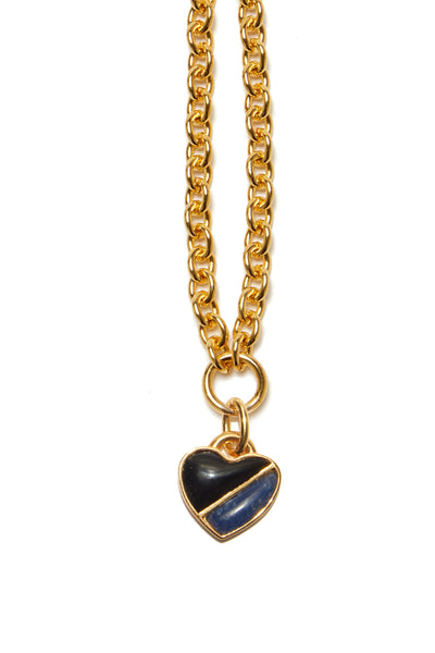 Thumbnail close-up of Before Sunrise Necklace In Dusk. Gift this beauty to your bestie, your mama, your sweetheart or yourself! Our favorite necklace has both substance (a luxe, thick link gold chain) and sentiment (a semi-precious heart charm in black agate and dumotierite).
