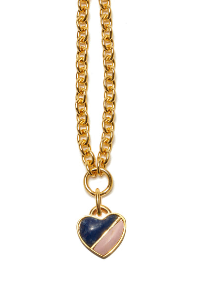 Thumbnail close-up of Before Sunrise Necklace In Sunrise. Gift this beauty to your bestie, your mama, your sweetheart or yourself! Our favorite necklace has both substance (a luxe, thick link gold chain) and sentiment (a semi-precious heart charm in dumotierite and pink opal).