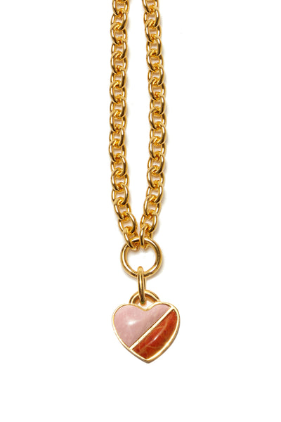 Thumbnail close-up of Before Sunrise Necklace In Sunset. Gift this beauty to your bestie, your mama, your sweetheart or yourself! Our favorite necklace has both substance (a luxe, thick link gold chain) and sentiment (a semi-precious heart charm in pink opal and coral).