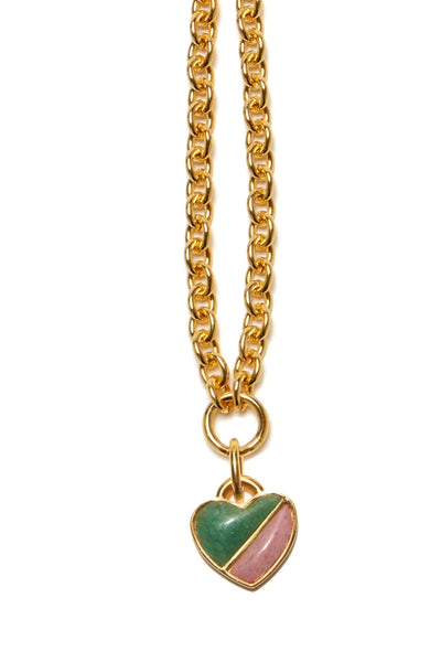 Thumbnail close-up of Before Sunrise Necklace In Valley. Gift this beauty to your bestie, your mama, your sweetheart or yourself! Our favorite necklace has both substance (a luxe, thick link gold chain) and sentiment (a semi-precious heart charm in green jade and pink quartz).