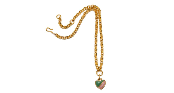 Full view of Before Sunrise Necklace In Valley. Gift this beauty to your bestie, your mama, your sweetheart or yourself! Our favorite necklace has both substance (a luxe, thick link gold chain) and sentiment (a semi-precious heart charm in green jade and pink quartz).