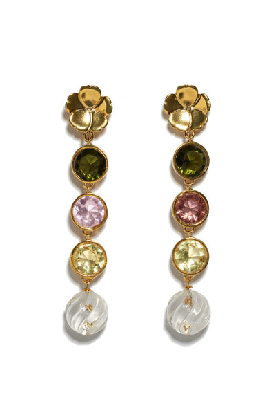 Thumbnail of Nonna Flower Earrings. Channel your inner magpie with these playful and elegant linked earrings, with flower tops, pastel-colored glass stones and hanging crystal swirl drops.