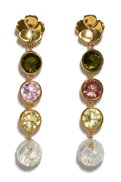 Thumbnail detail of Nonna Flower Earrings. Channel your inner magpie with these playful and elegant linked earrings, with flower tops, pastel-colored glass stones and hanging crystal swirl drops.
