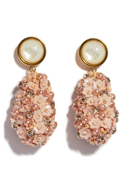 Thumbnail close-up of Roman Party Earrings In Rose. These gold-plated earrings pack a serious celebratory punch, with hanging pink and peach sequin beaded teardrops and pearl stone tops.
