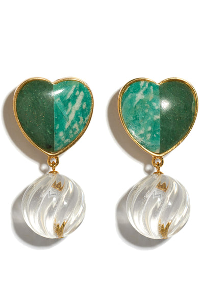 Thumbnail close-up of Tide Pool Earrings. Irresistibly sweet, these gold-plated heart earrings are fashioned from two-tone semiprecious green quartz and amazonite stones, with hanging crystal swirls. For a rich color combination, wear with the Safari Clutch In Quilted Floral.