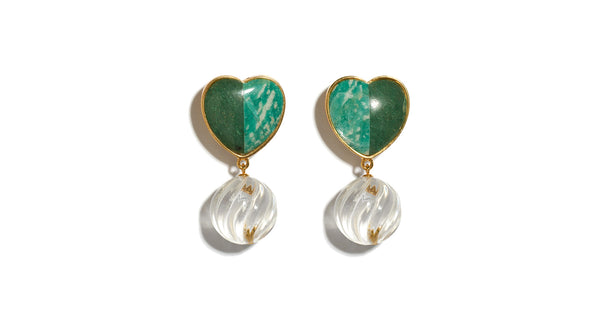 Full view of Tide Pool Earrings. Irresistibly sweet, these gold-plated heart earrings are fashioned from two-tone semiprecious green quartz and amazonite stones, with hanging crystal swirls. For a rich color combination, wear with the Safari Clutch In Quilted Floral.