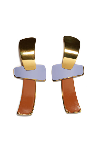 "Thumbnail of Ernesto Earrings In Lilac. Make a statement in the gold-plated ""totem"" earrings that feature one of our current favorite color combinations, lilac and tangerine."