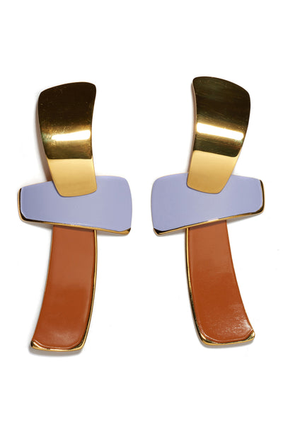 "Thumbnail close-up of Ernesto Earrings In Lilac. Make a statement in the gold-plated ""totem""..."
