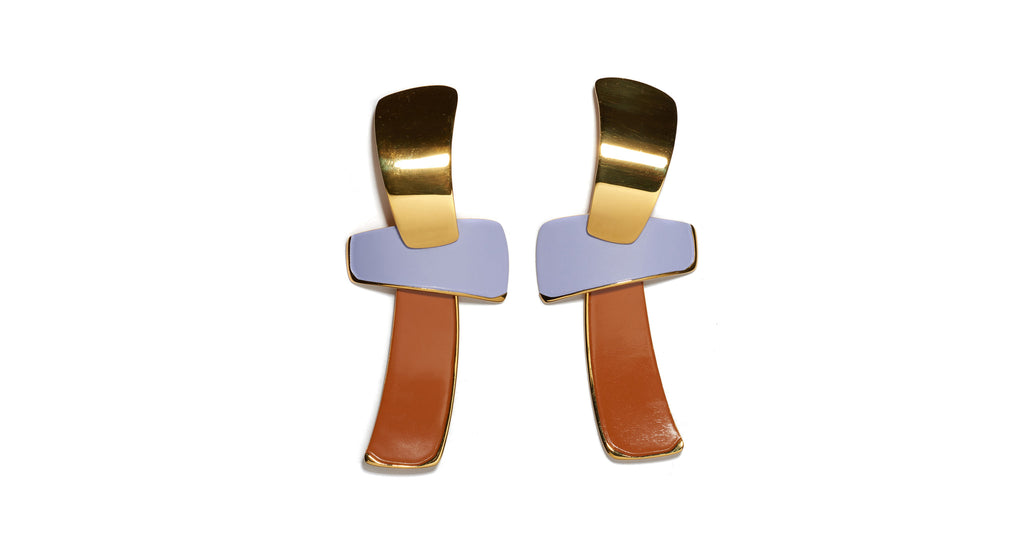 "Full view of Ernesto Earrings In Lilac. Make a statement in the gold-plated ""totem"" earrings that feature one of our current favorite color combinations, lilac and tangerine."