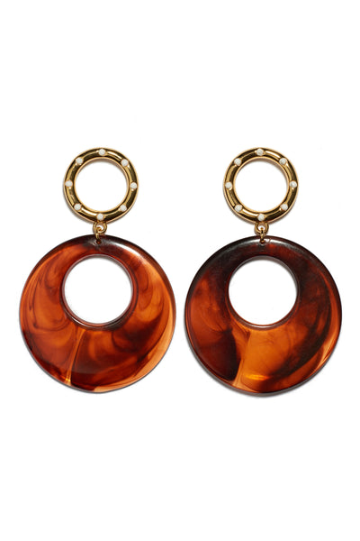 Thumbnail of La Fonda Earrings. We love how these charmingly retro earrings fit seamlessly with contemporary styles. Gold and enamel rings with lightweight butterscotch-colored acrylic hoops.