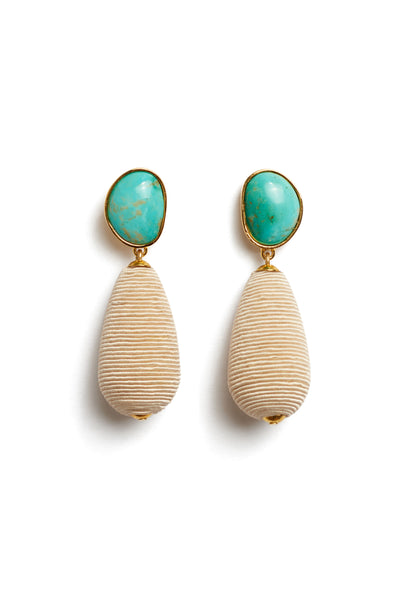 Thumbnail of Turquoise Drop Earrings. We've playfully combined subtle beach vibes with high-style arts & crafts in these special earrings, with hand-cut turquoise cabochons and beige woven cord drops.