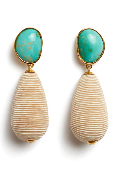 Thumbnail close-up of Turquoise Drop Earrings. We've playfully combined subtle beach vibes with high-style arts & crafts in these special earrings, with hand-cut turquoise cabochons and beige woven cord drops