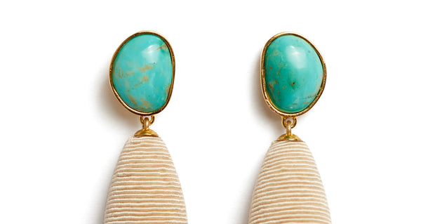 Top detail of Turquoise Drop Earrings. We've playfully combined subtle beach vibes with high-style arts & crafts in these special earrings, with hand-cut turquoise cabochons and beige woven cord drops