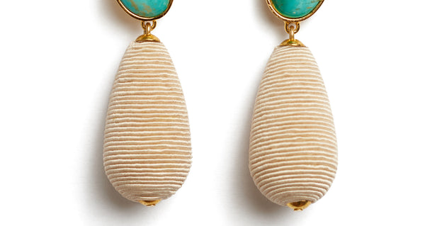 Bottom detail of Turquoise Drop Earrings. We've playfully combined subtle beach vibes with high-style arts & crafts in these special earrings, with hand-cut turquoise cabochons and beige woven cord drops