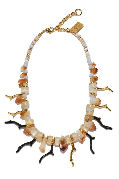 "Thumbnail of Lightning Necklace. You'll be a lightning rod for compliments in the chalcedony and citrine beaded necklace with alternating gold and black enameled ""branch coral"" pendants. Want to make an even bigger statement? Layer it with the Corsica Collar as seen on our model."