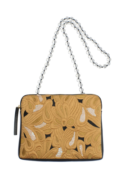 Thumbnail of Safari Clutch In Quilted Floral. This yellow quilted statement purse is brimming with unique details, from the hand-embroidery and pops of sequin, to the gingham and smooth black leather back, to the unexpected beaded strap. We can't wait for you to see this one up close.