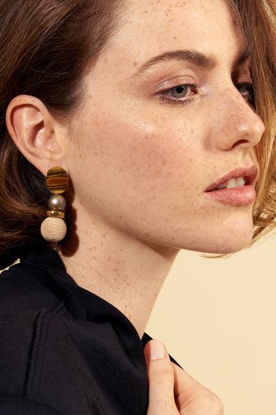 Thumbnail of model wearing the Casbah Earrings. Rock the casbah (hey, we had to!), or the of...