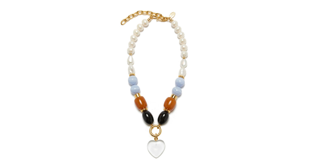 Full view of Cloud Nine Necklace. Make a statement in a classic single-strand bead necklace ...