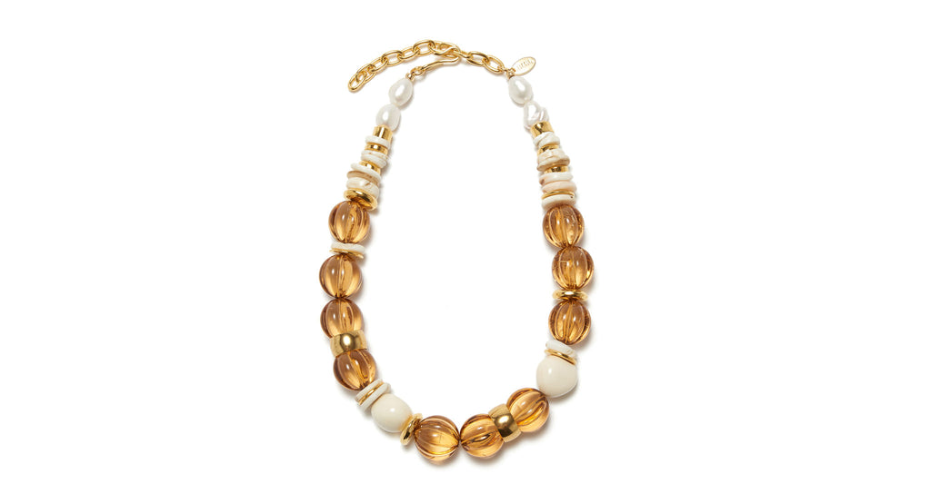 Full view of Candy Necklace In Amber. We can't get enough of this chunky, sophisticated ...