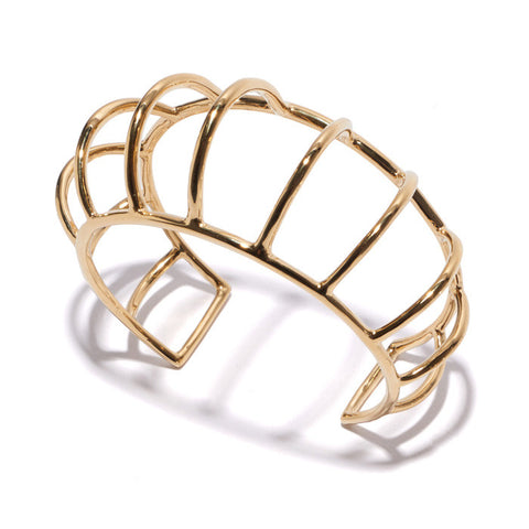 Domed Cage Cuff In Gold