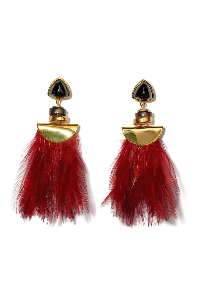 Parrot Earrings In Burgundy
