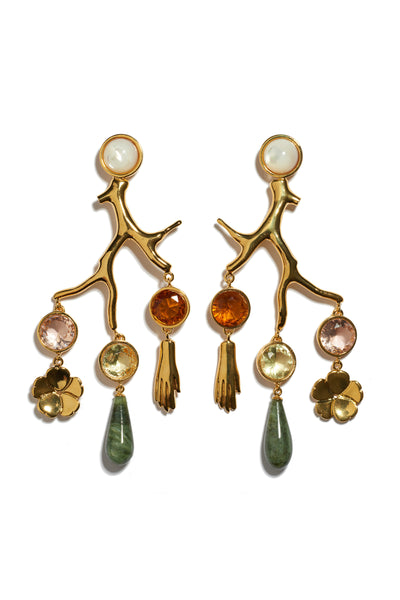 Thumbnail of Relic Chandelier Earrings. Perfectly balanced, these gold-plated brass coral-shaped chandelier earrings can be easily dressed up or down. Shop now, make a statement later. Featuring hanging faceted glass stones, gold-plated flower and hand charms, green jade drops and mother-of-pearl tops.