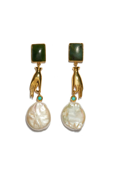 Thumbnail of Gentlewoman Earrings. Shop the most elegant and whimsical earrings of the season. Gold-plated brass with dainty hand charm and large freshwater pearl, with green jade rectangle tops and turquoise stone detail.
