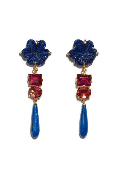 Thumbnail of Baroque Flower Earrings. Gold-plated brass and carved lapis flowers with dark pink cut glass stones and hanging lapis drops. Add an elegant and unique pop of color to any outfit.