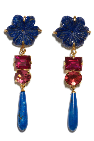 Thumbnail close-up of Baroque Flower Earrings. Gold-plated brass and carved lapis flowers with dark pink cut glass stones and hanging lapis drops. Add an elegant and unique pop of color to any outfit.