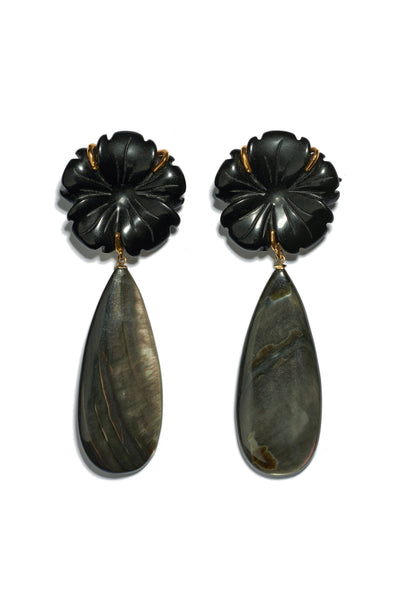Thumbnail of Night Bloom Earrings. Day or night, these classic earrings will be surefire stunners. Black agate flowers with long black abalone shell drops.