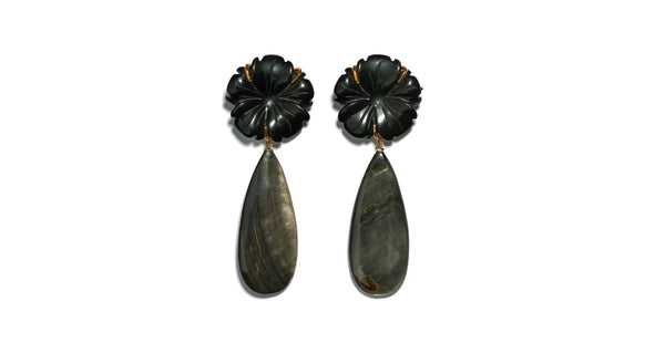 Full view of Night Bloom Earrings. Day or night, these classic earrings will be surefire stunners. Black agate flowers with long black abalone shell drops.
