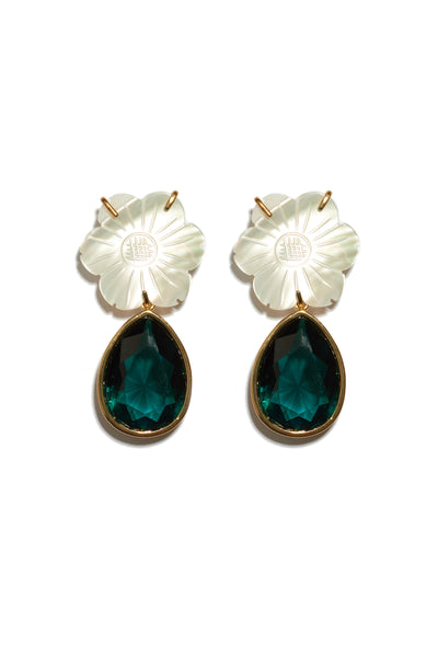 Thumbnail of Lily Pad Earrings. The perfect accessory to punctuate any outfit, these gold-plated brass earrings feature mother-of-pearl daisy tops and hanging emerald-colored faceted glass teardrops. Fully elegant, completely wearable.